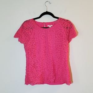 J. Crew Hot Pink Lace Short Sleeve Blouse